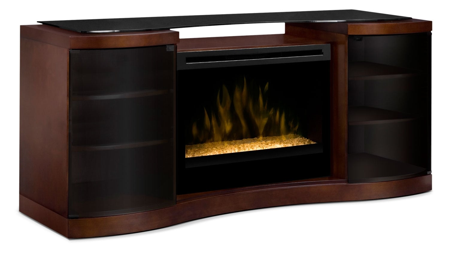 "Grandview 73"" TV Stand with Glass Ember Firebox"