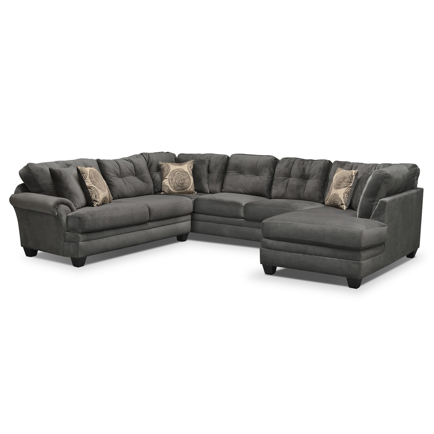 Cordelle 3 piece sectional gray value city furniture for Sectional sofa set up