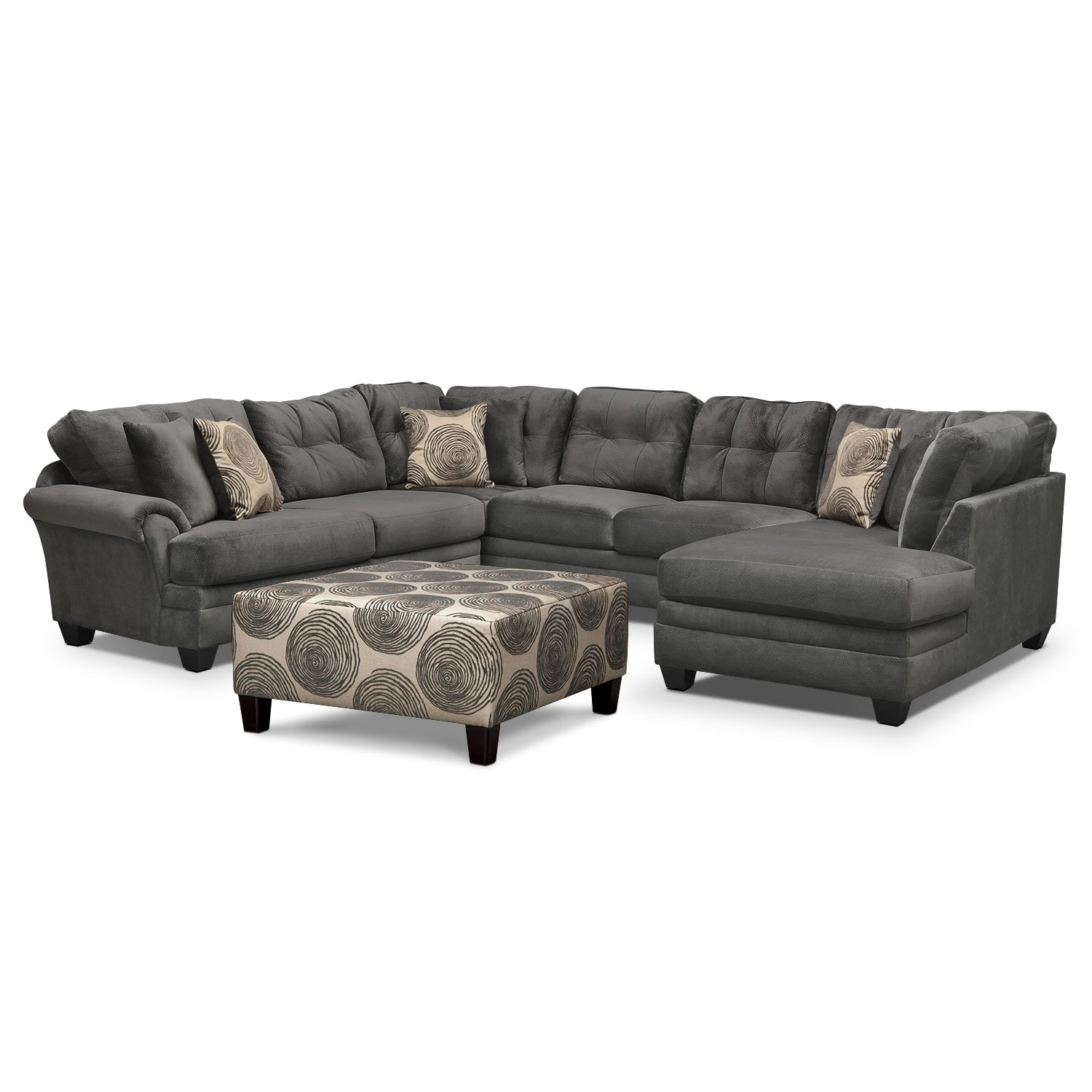cordelle 3 piece sectional and cocktail ottoman set gray value city furniture. Black Bedroom Furniture Sets. Home Design Ideas