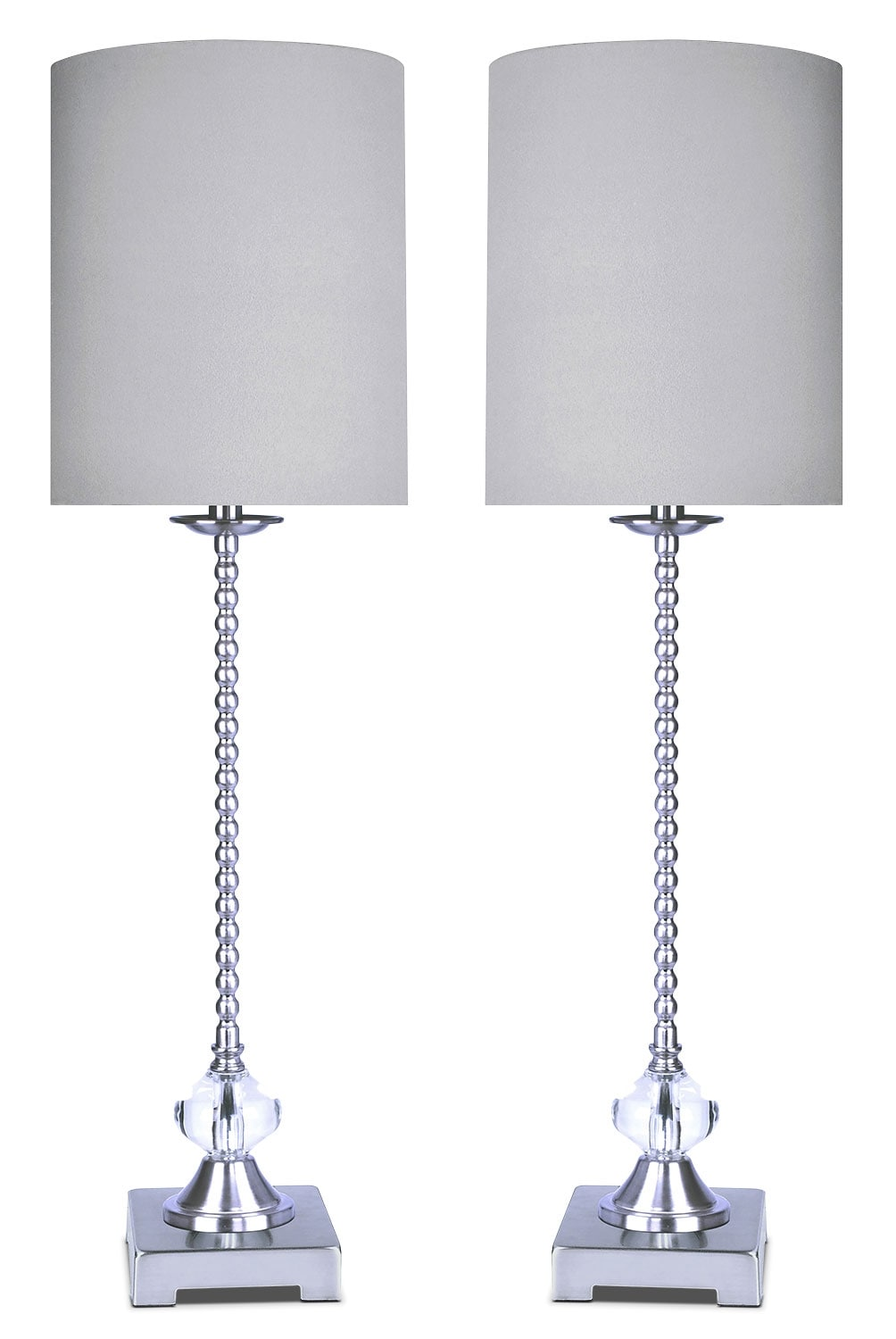 Home Accessories - Polished Nickel with Crystal 2-Piece Table Lamp Set
