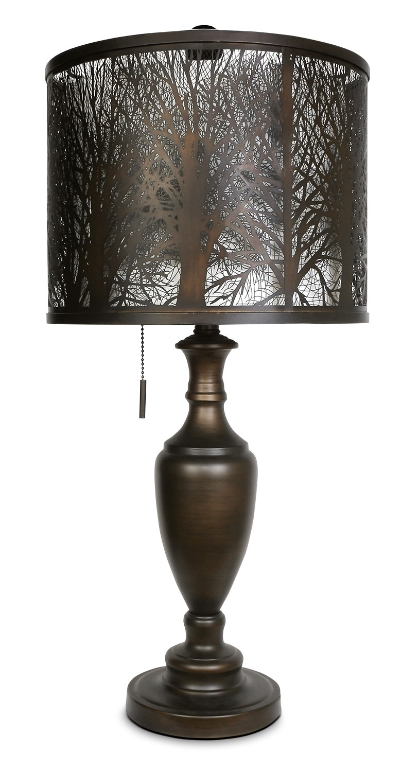 Home Accessories - Bean Bronze Table Lamp with Cut-Out Shade