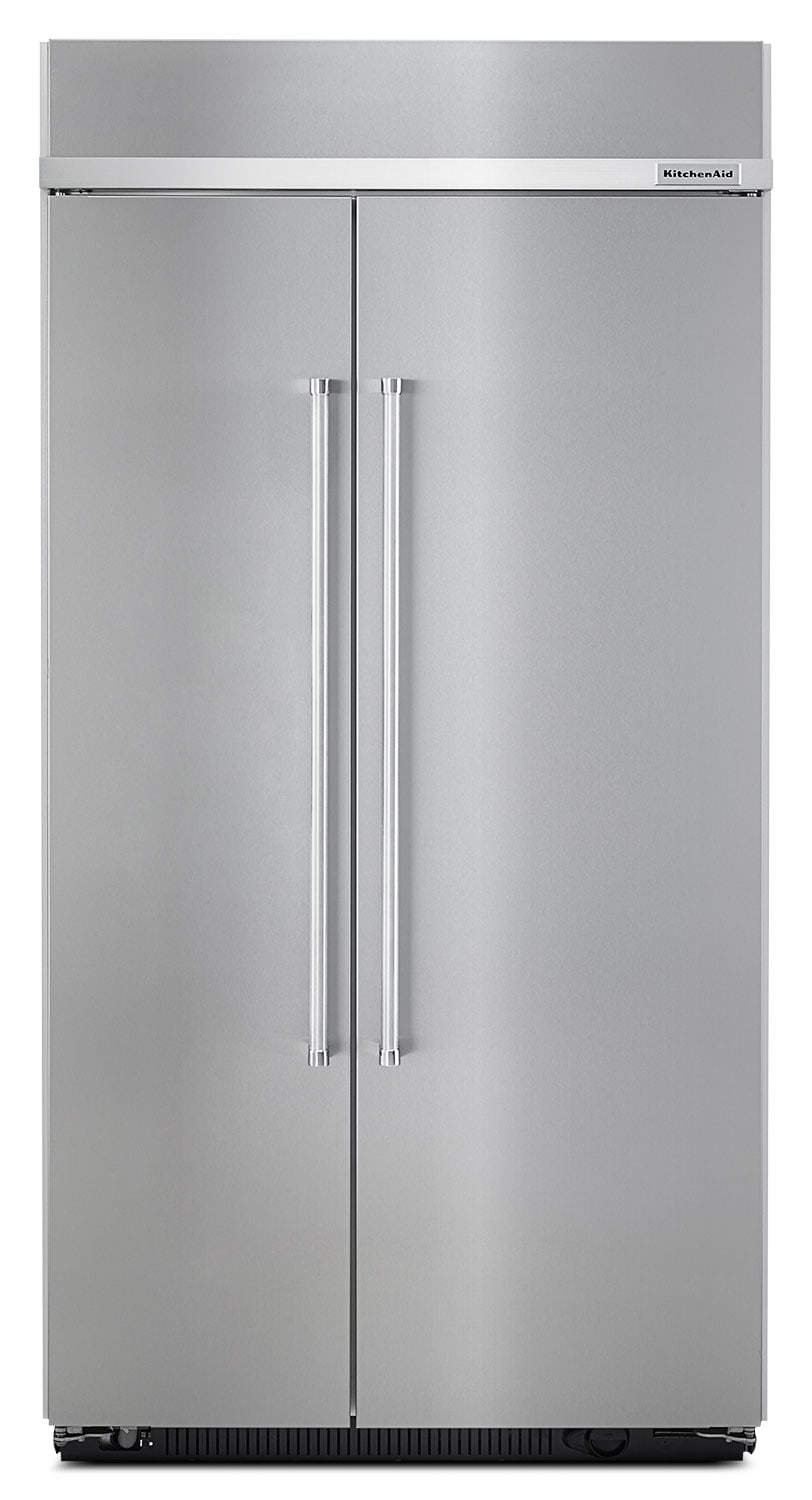 kitchenaid 25 5 cu ft built in side by side refrigerator stainless steel the brick. Black Bedroom Furniture Sets. Home Design Ideas