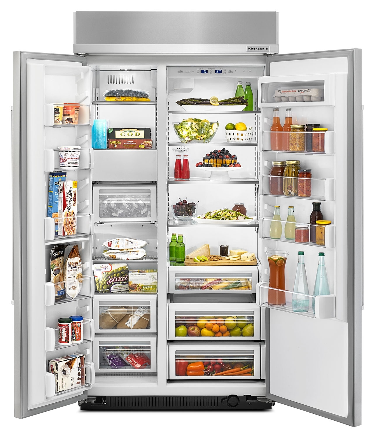 Kitchenaid Black Stainless Steel Side By Side Refrigerator: KitchenAid 25.5 Cu. Ft. Built-In Side-by-Side Refrigerator - Stainless Steel