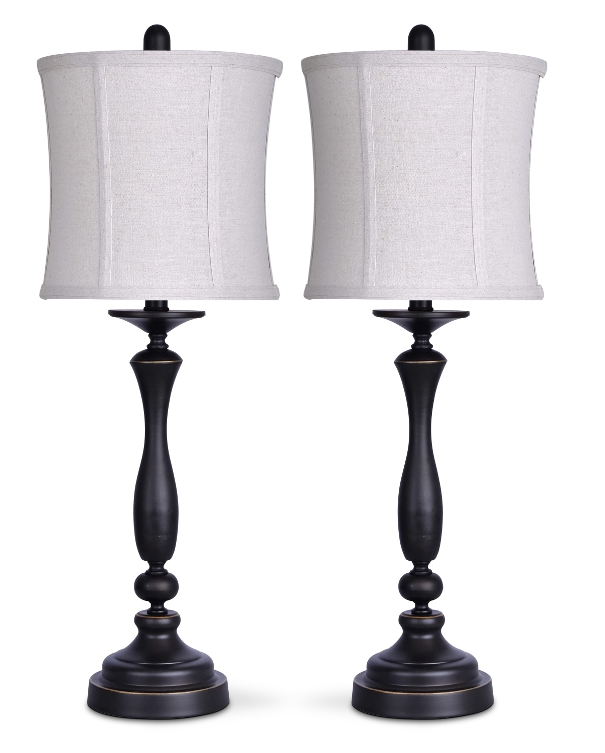 Oil-Rubbed Bronze 2-Piece Table Lamp Set with Linen Shade