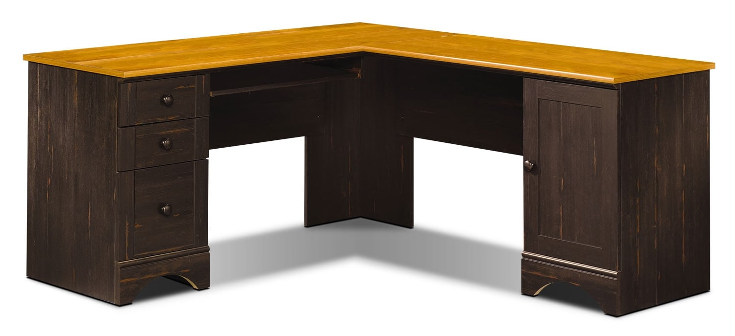 100 sauder harbor view computer desk with hutch antiqued wh