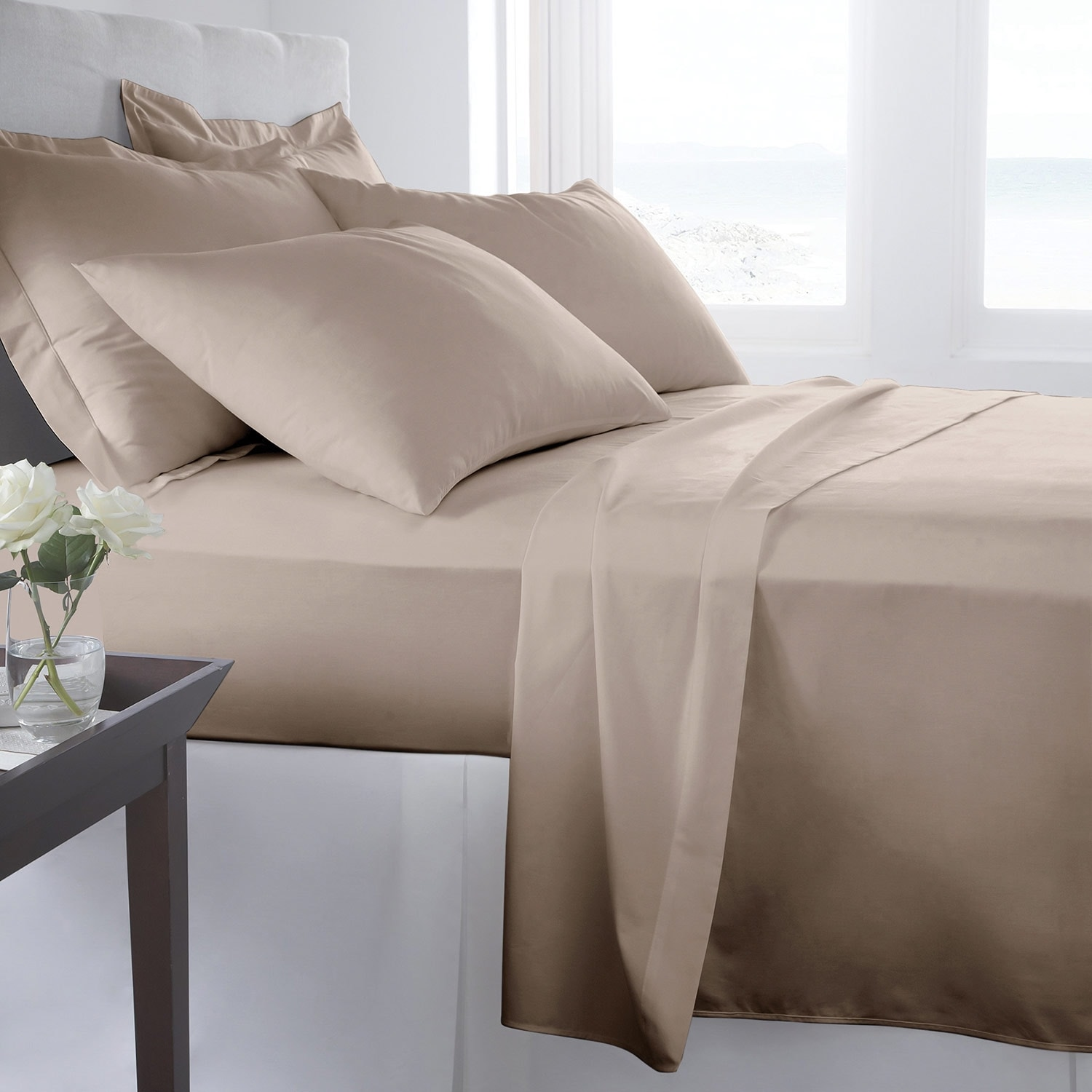 Accent and Occasional Furniture - 300 Thread Count Queen Sheet Set - Taupe