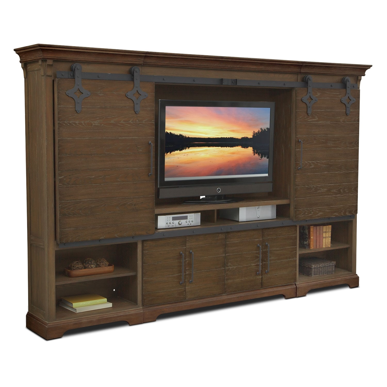 Union City Entertainment Wall Unit Brown Value City Furniture