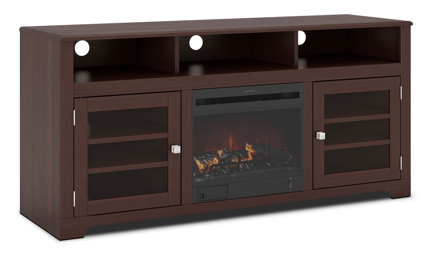 "Entertainment Furniture - West Lake 60"" TV Stand with Log Firebox – Dark Espresso"