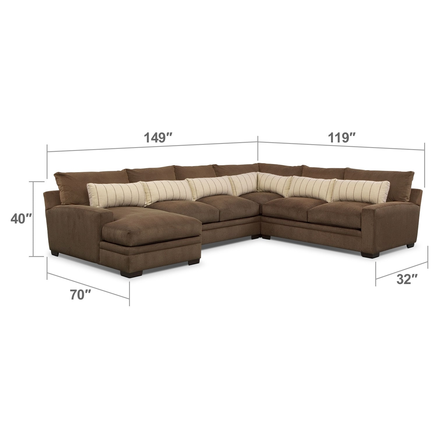 Ventura 4 Piece Sectional With Left Facing Chaise Brown