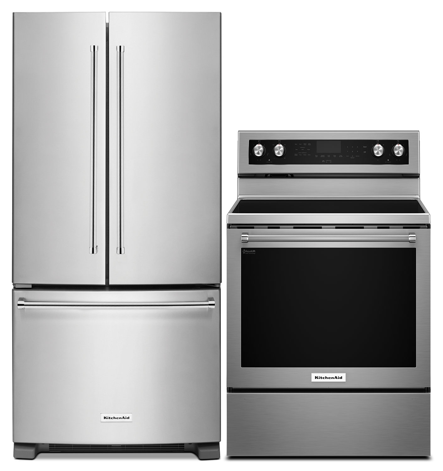 Cooking Products - KitchenAid 19.7 Cu. Ft. French-Door Refrigerator and 6.4 Cu. Ft. Electric Range - Stainless Steel