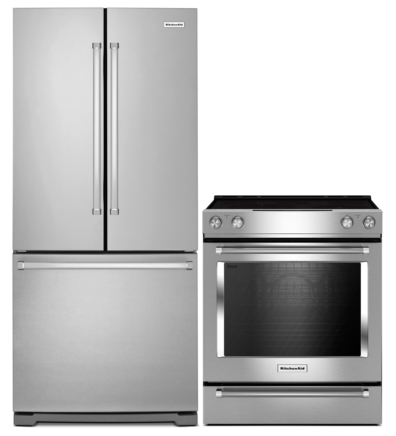 Cooking Products - KitchenAid 22.1 Cu. Ft. French-Door Refrigerator with Slide-In Electric Range - Stainless Steel