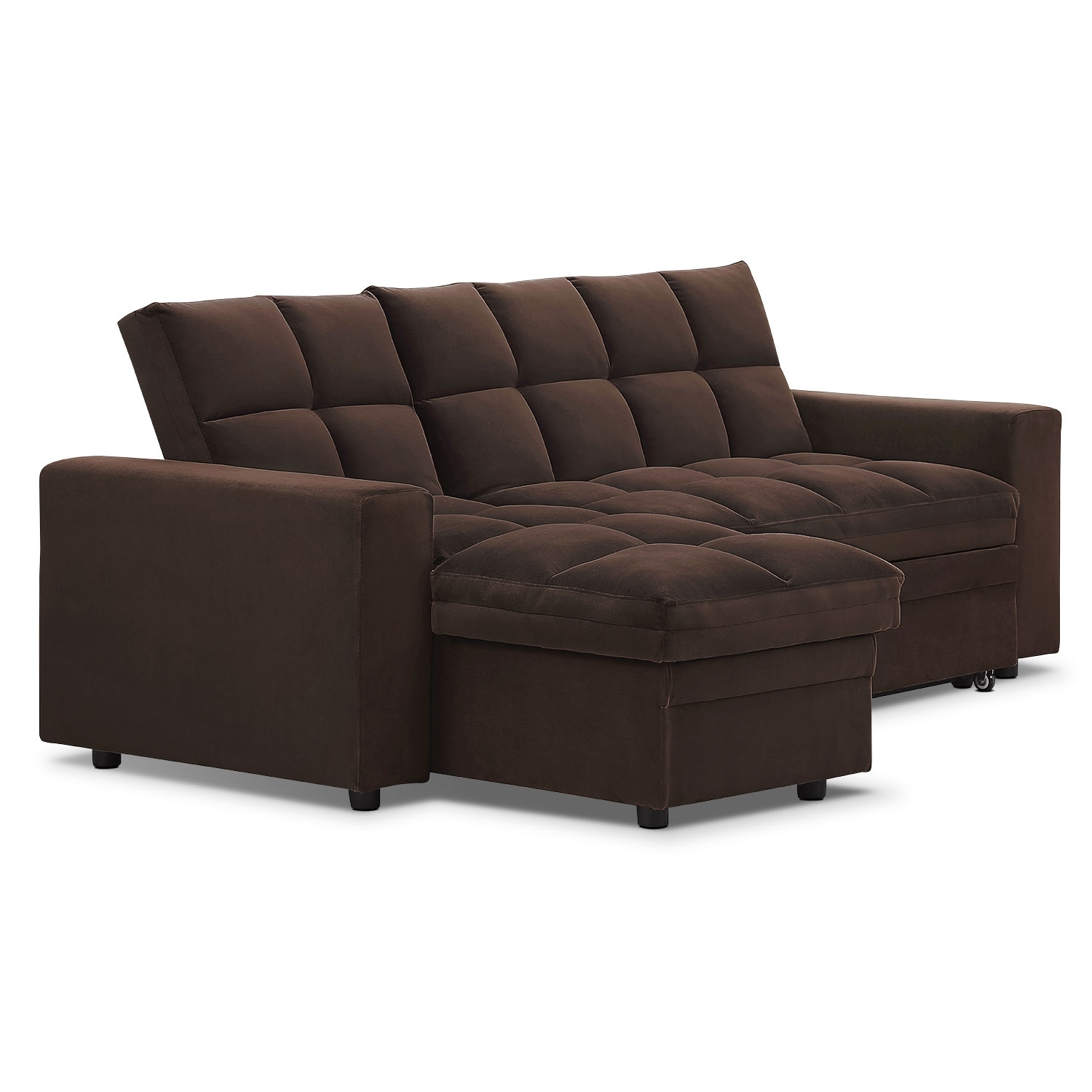 Metro chaise sofa bed with storage brown value city for Brown chaise sofa bed