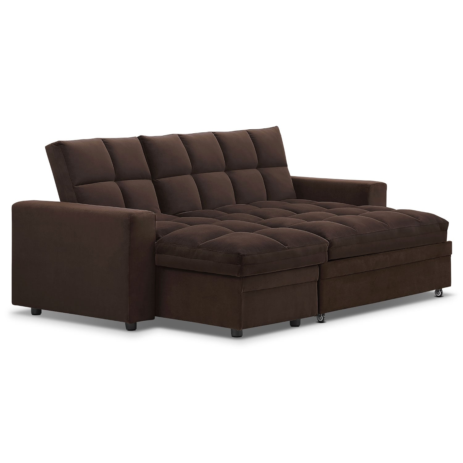 Metro chaise sofa bed with storage brown value city for Brown chaise sofa