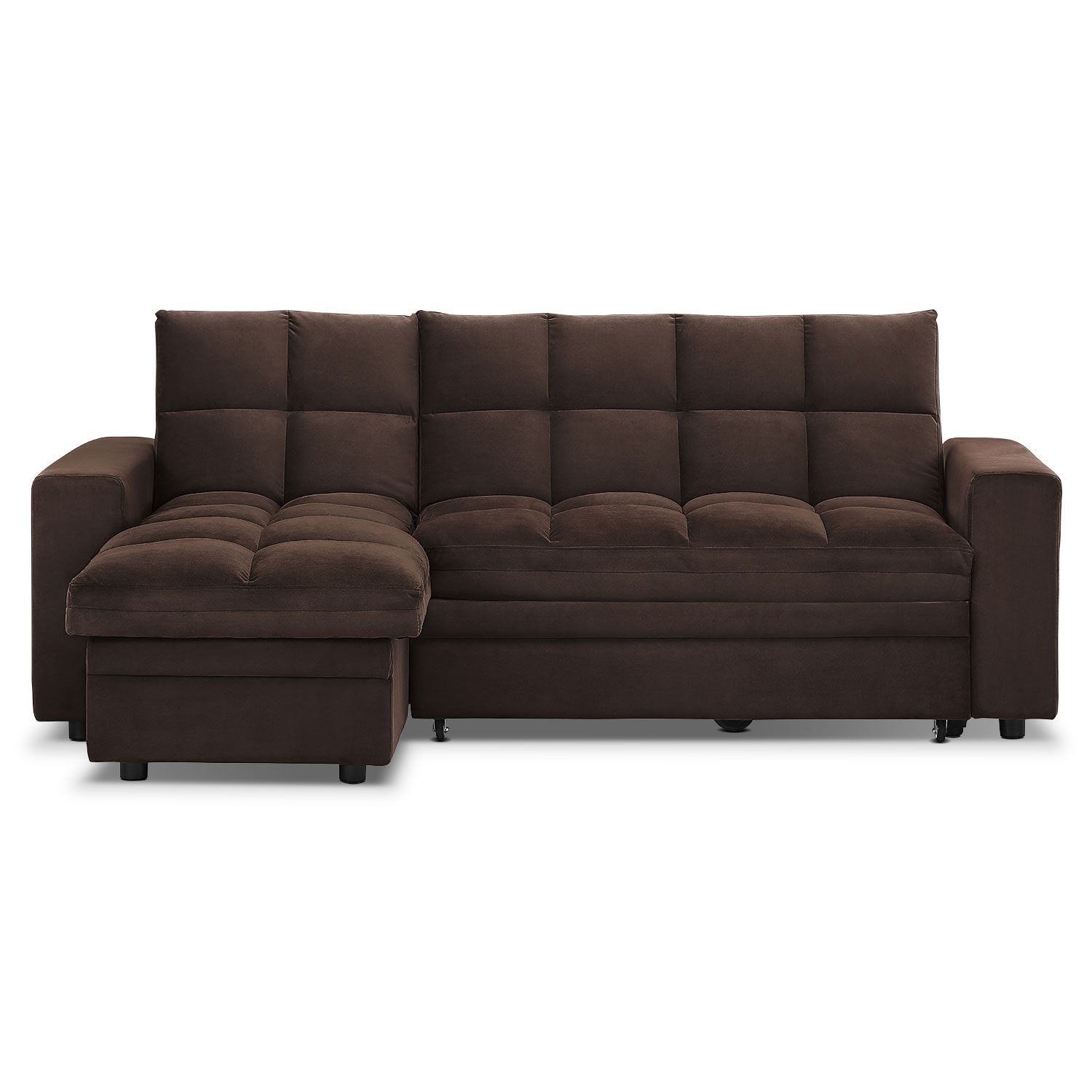 Metro chaise sofa bed with storage brown value city for Sofa bed value city furniture