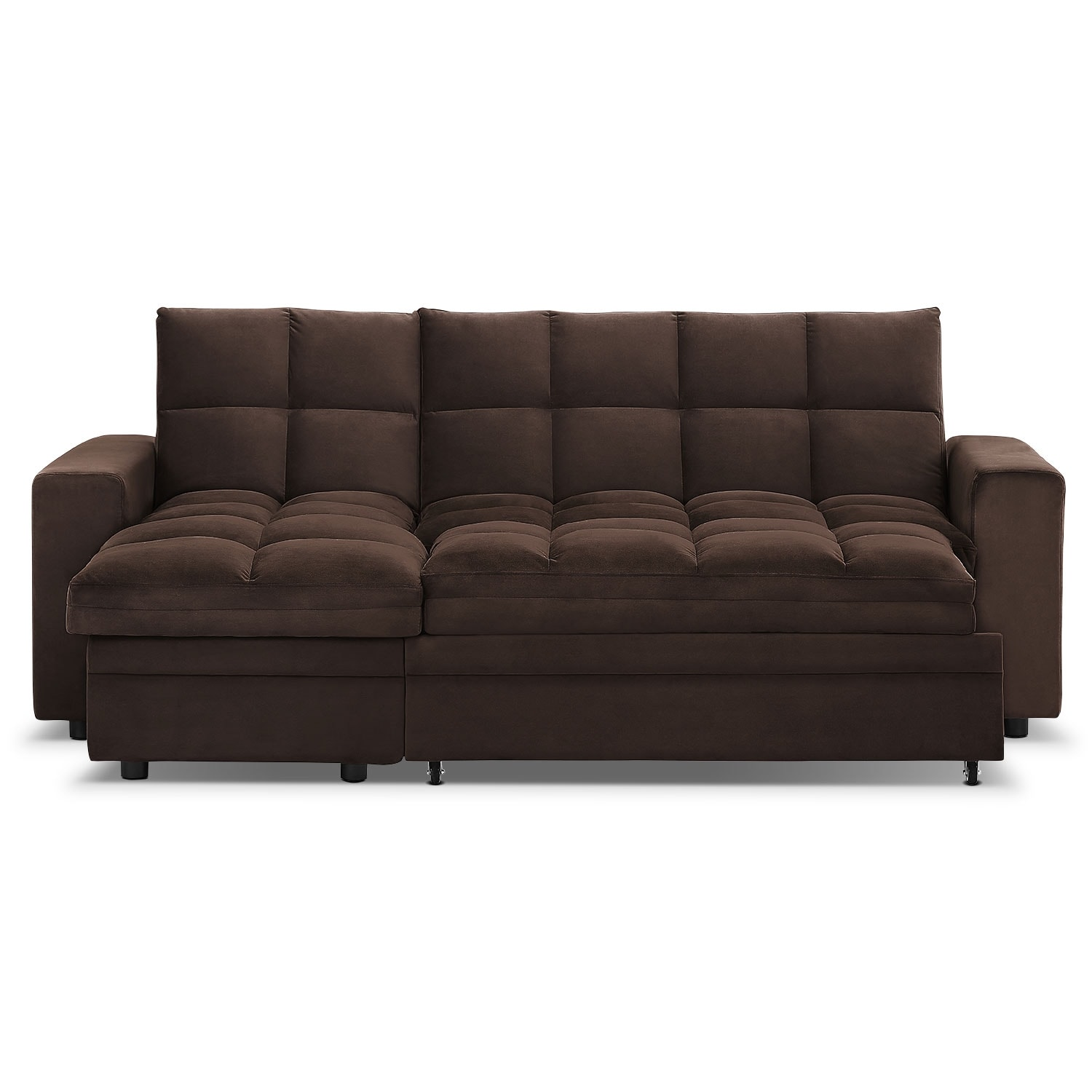 Metro chaise sofa bed with storage brown value city for Chaise bed sofa
