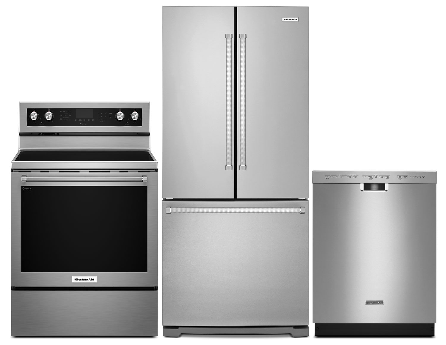 """Clean-Up - KitchenAid 19.7 Cu. Ft. Refrigerator, 6.4 Cu. Ft. Range and 24"""" Dishwasher- Stainless Steel"""