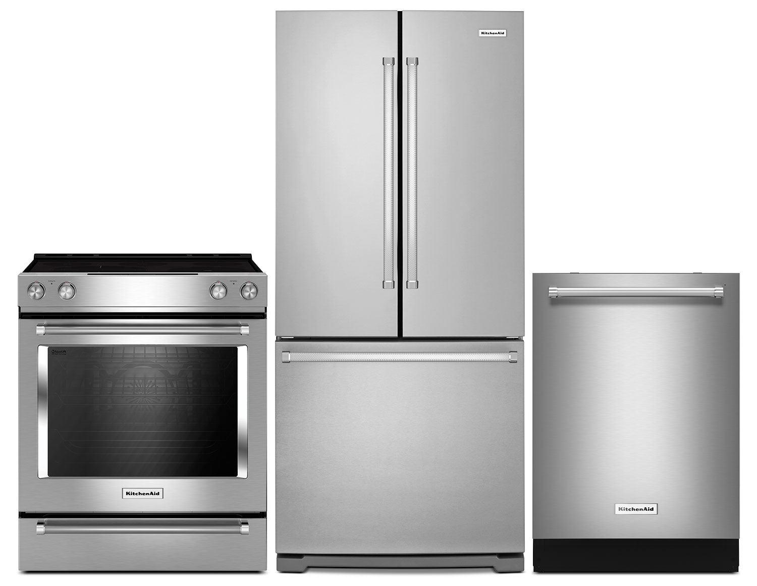 "KitchenAid 22.1 Cu. Ft. Refrigerator, Slide-In Electric Range and 24"" Dishwasher - Stainless Steel"