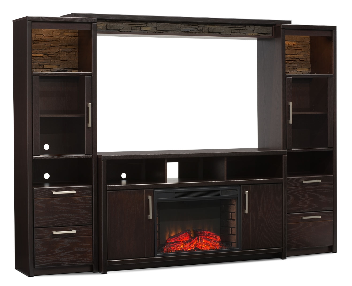 "Entertainment Furniture - Camden 5-Piece Entertainment Centre and Log Firebox with 60"" TV Opening"