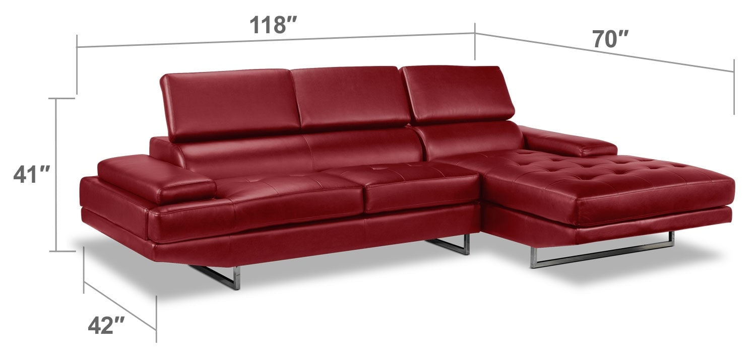 Living Room Furniture - Zamora 2-Piece Sectional - Red