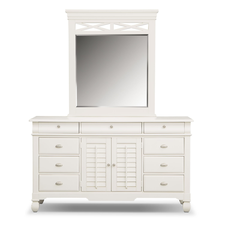 Plantation Cove Dresser And Mirror White American