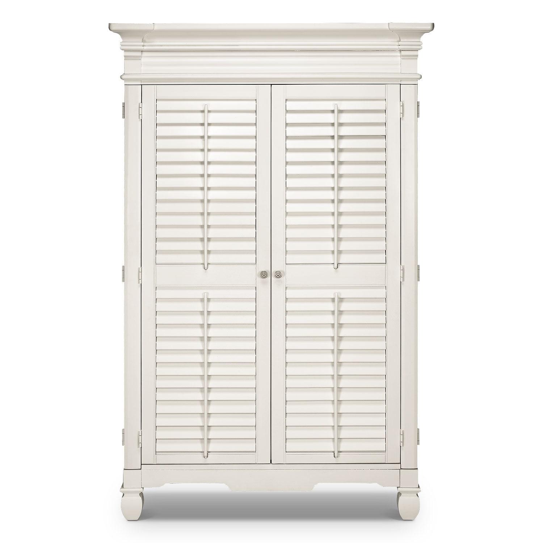 Plantation cove armoire white american signature furniture - Plantation cove bedroom furniture ...