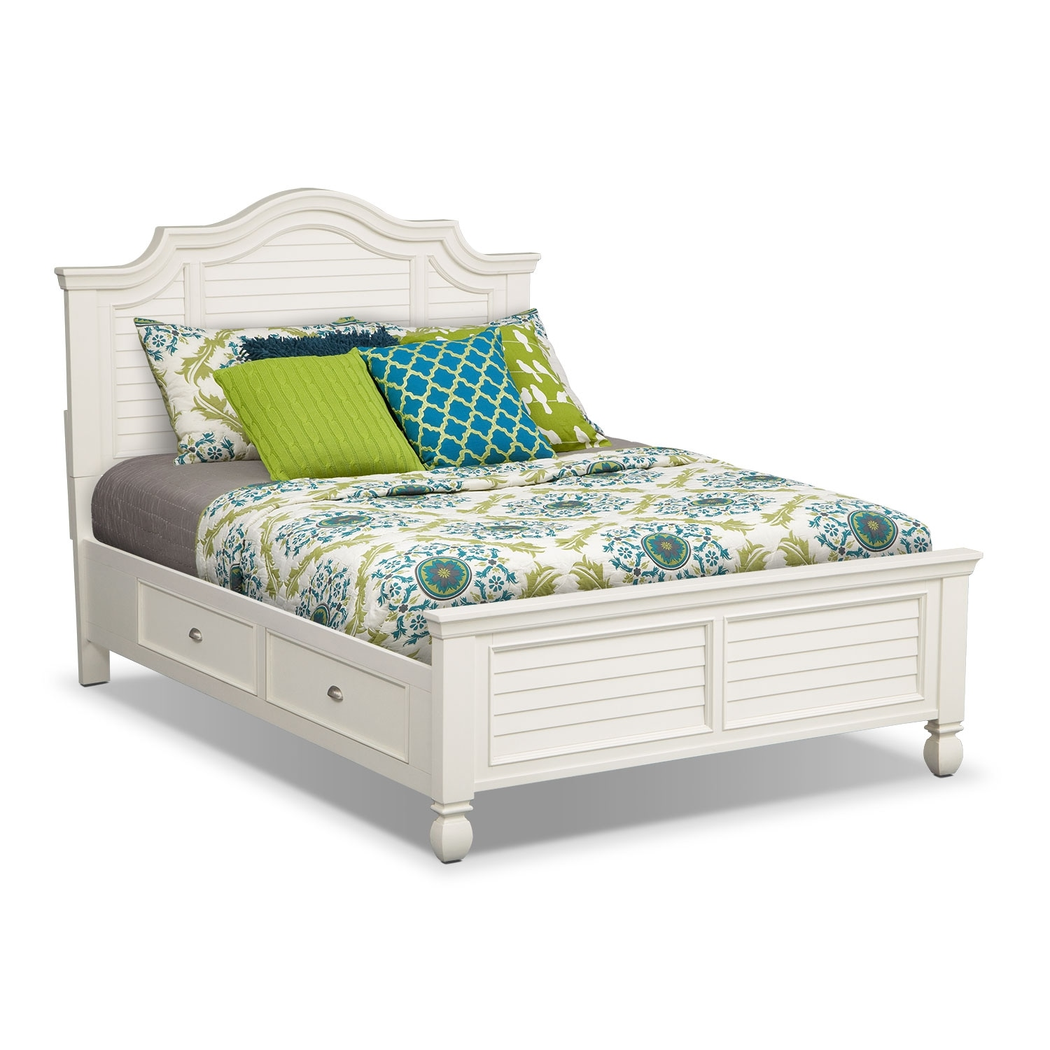 Plantation cove white storage queen storage bed value for White bedroom set with storage