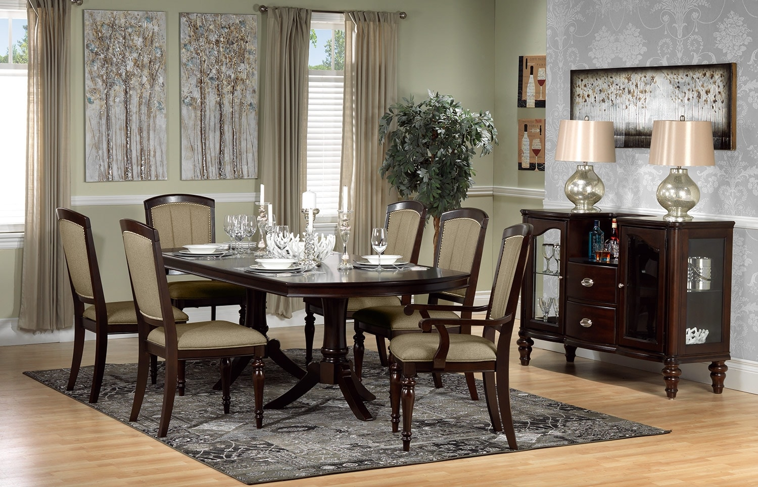 rooms to go dining room table | Thoreaux 7-Piece Dining Room Set - Dark Cherry | Leon's