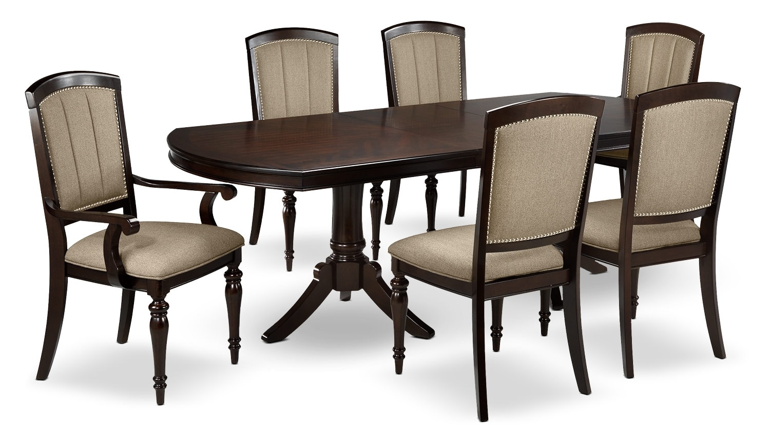 Dining Room Furniture - Thoreaux 7-Piece Dining Room Set - Dark Cherry
