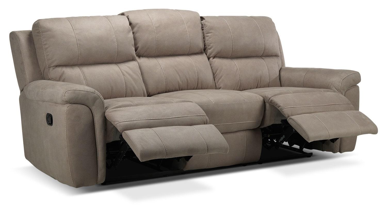 Roarke reclining sofa silver grey leon 39 s Living room furniture reclining sofa