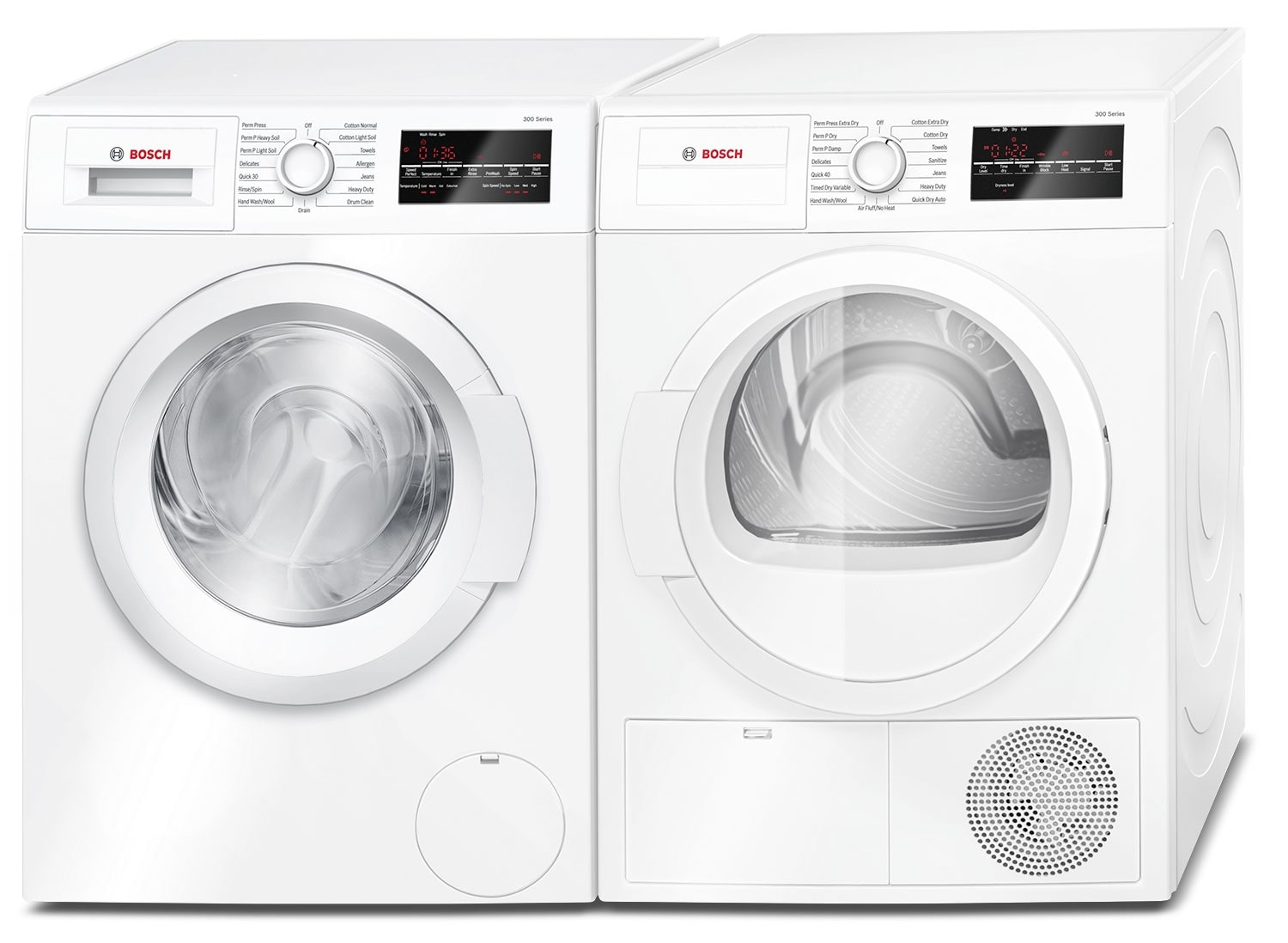 bosch 2 2 cu ft compact washer and 4 0 cu ft compact condensation dryer white the brick. Black Bedroom Furniture Sets. Home Design Ideas