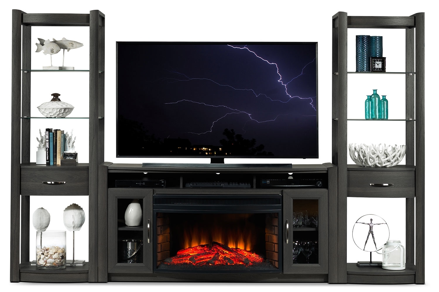 Entertainment Furniture - Gallagher 4-Piece Fireplace Entertainment Wall Unit - Grey