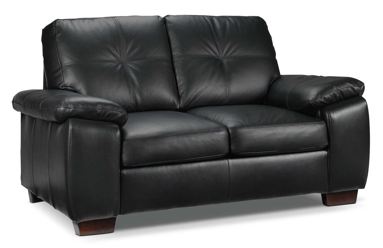 Living Room Furniture - Naples Loveseat - Black