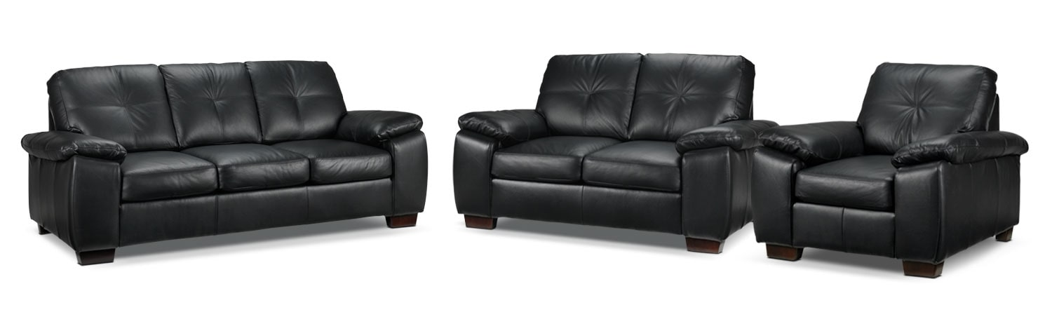 Living Room Furniture - Naples 3 Pc. Living Room Package - Black