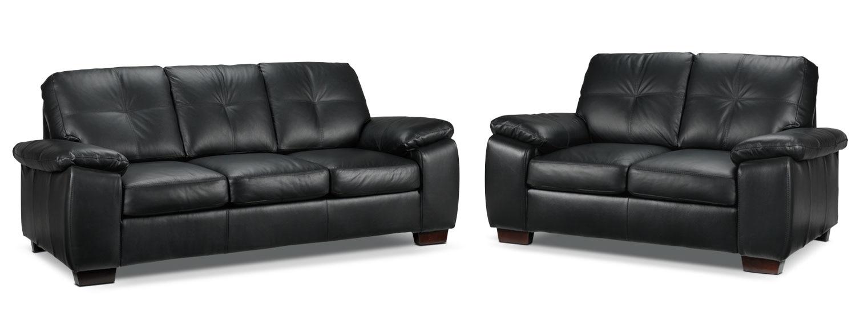 Naples Sofa and Loveseat Set - Black