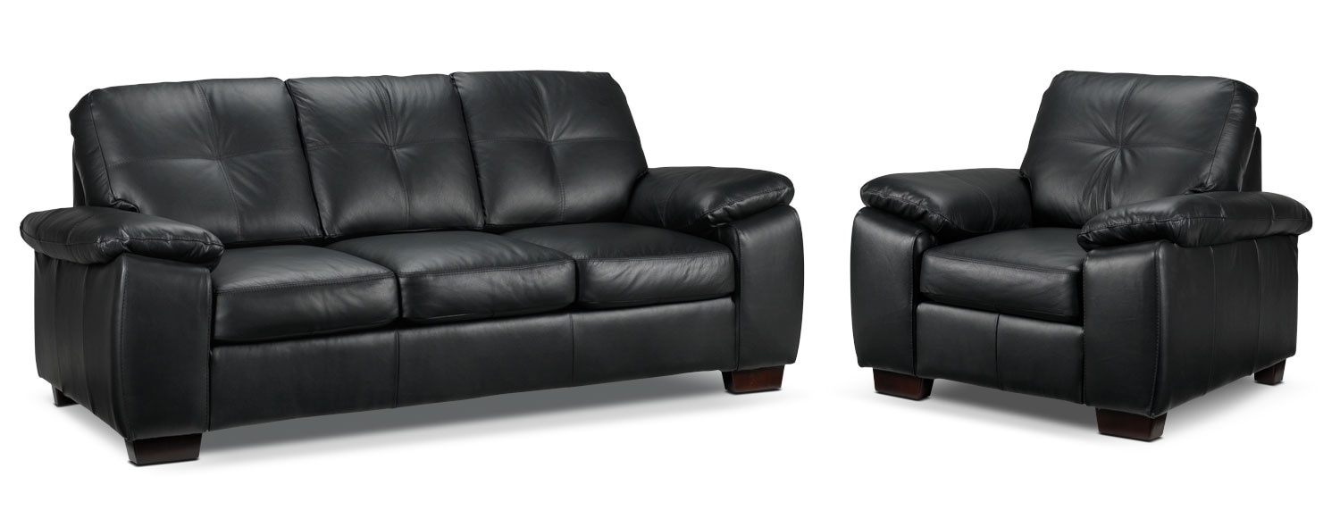 Living Room Furniture - Naples 2 Pc. Living Room Package W/ Chair - Black