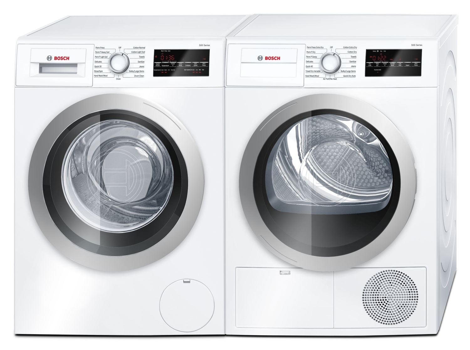 bosch 500 series 2 2 cu ft compact washer and 4 0 cu ft compact dryer white the brick. Black Bedroom Furniture Sets. Home Design Ideas