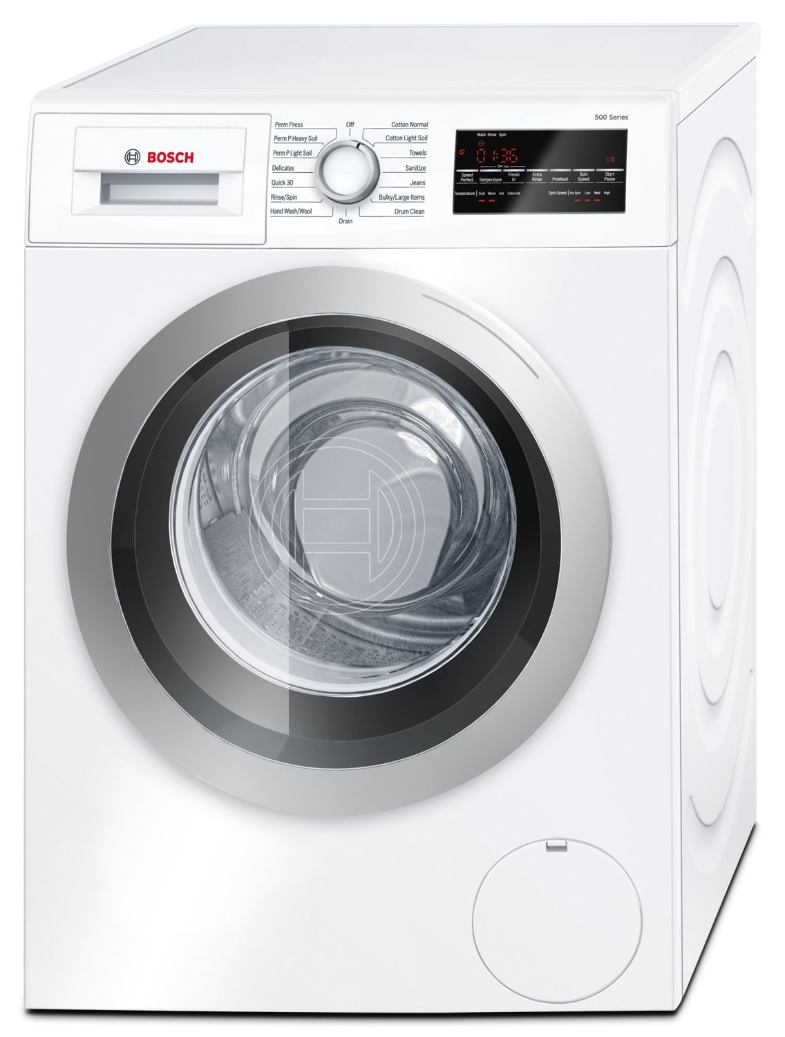 Washers and Dryers - Bosch Silver and White Front-Load Washer (2.2 Cu. Ft.) - WAT28401UC
