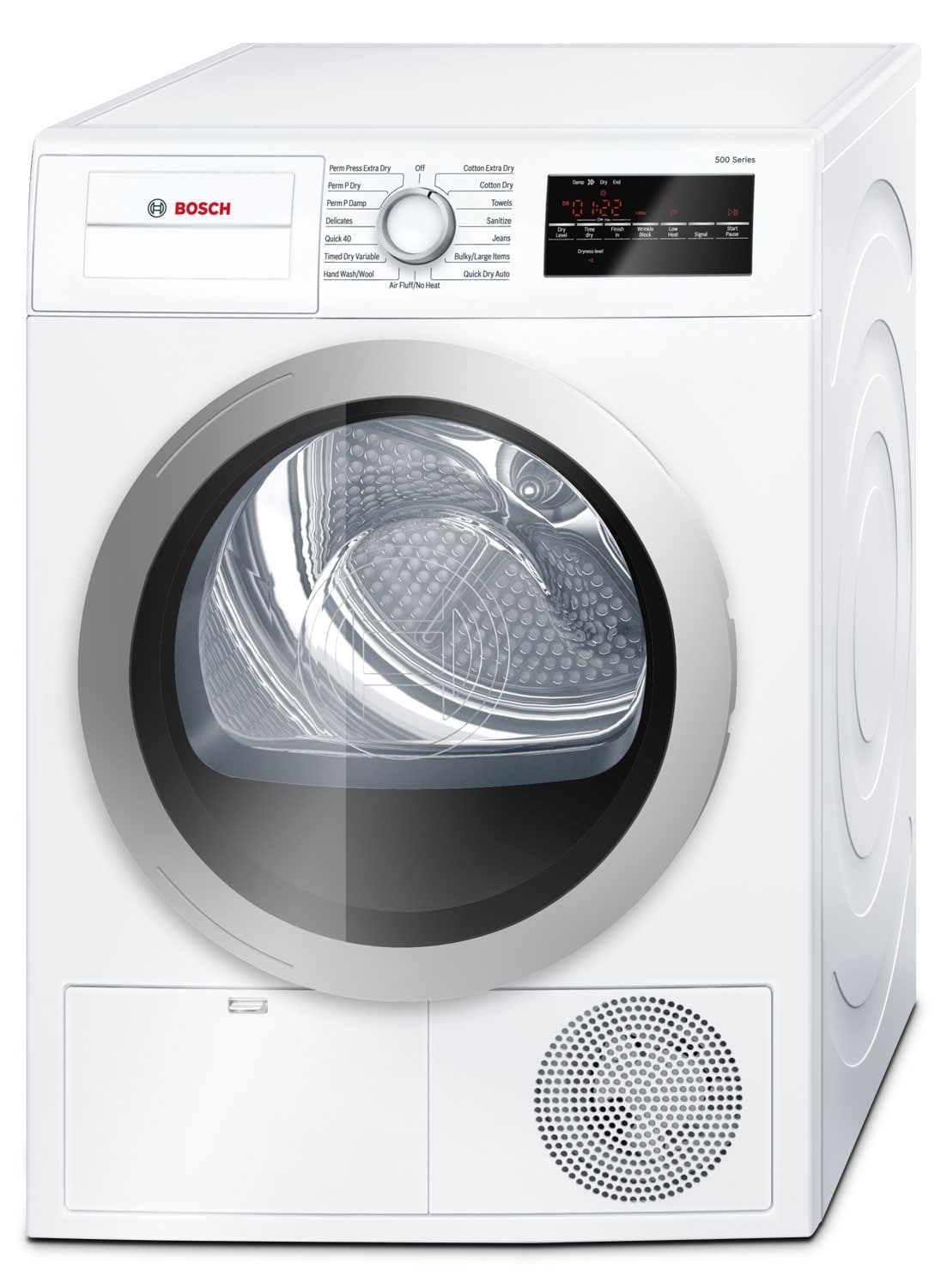 Washers and Dryers - Bosch White and Silver Electric Dryer (4 Cu. Ft.) - WTG86401UC