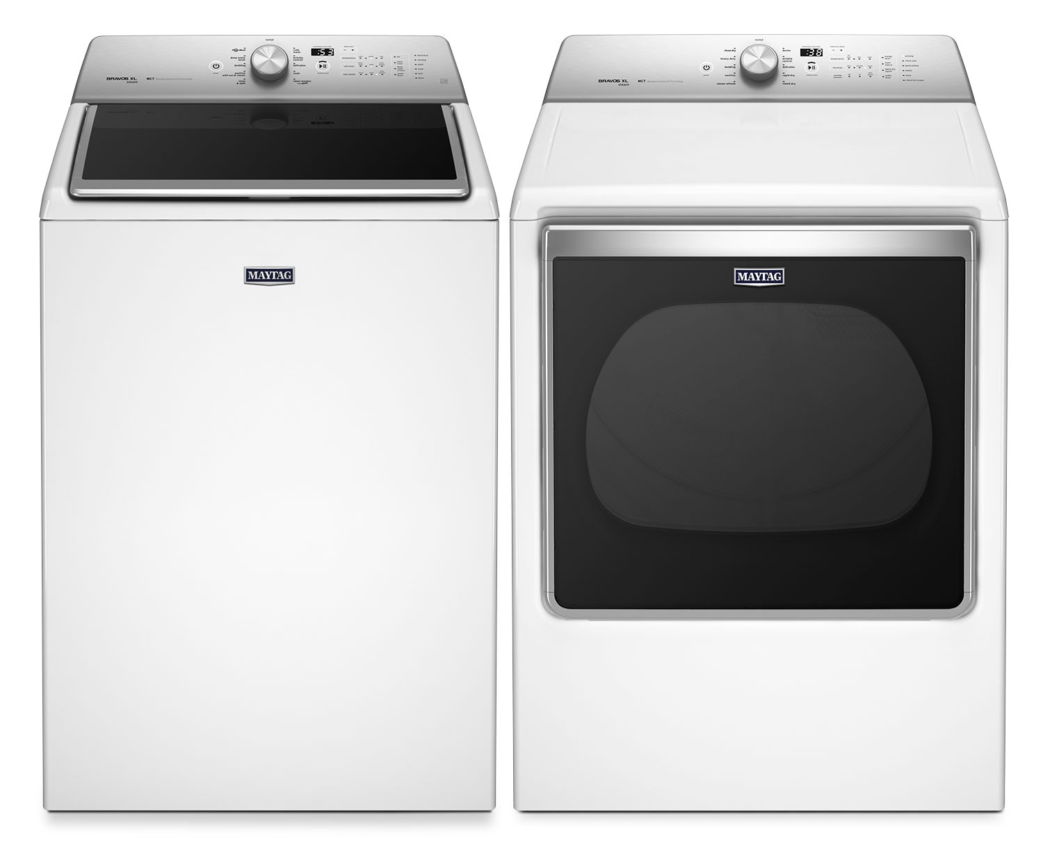 Maytag 6.1 Cu. Ft. Top-Load Steam Washer and 8.8 Cu. Ft. Electric Steam Dryer – White