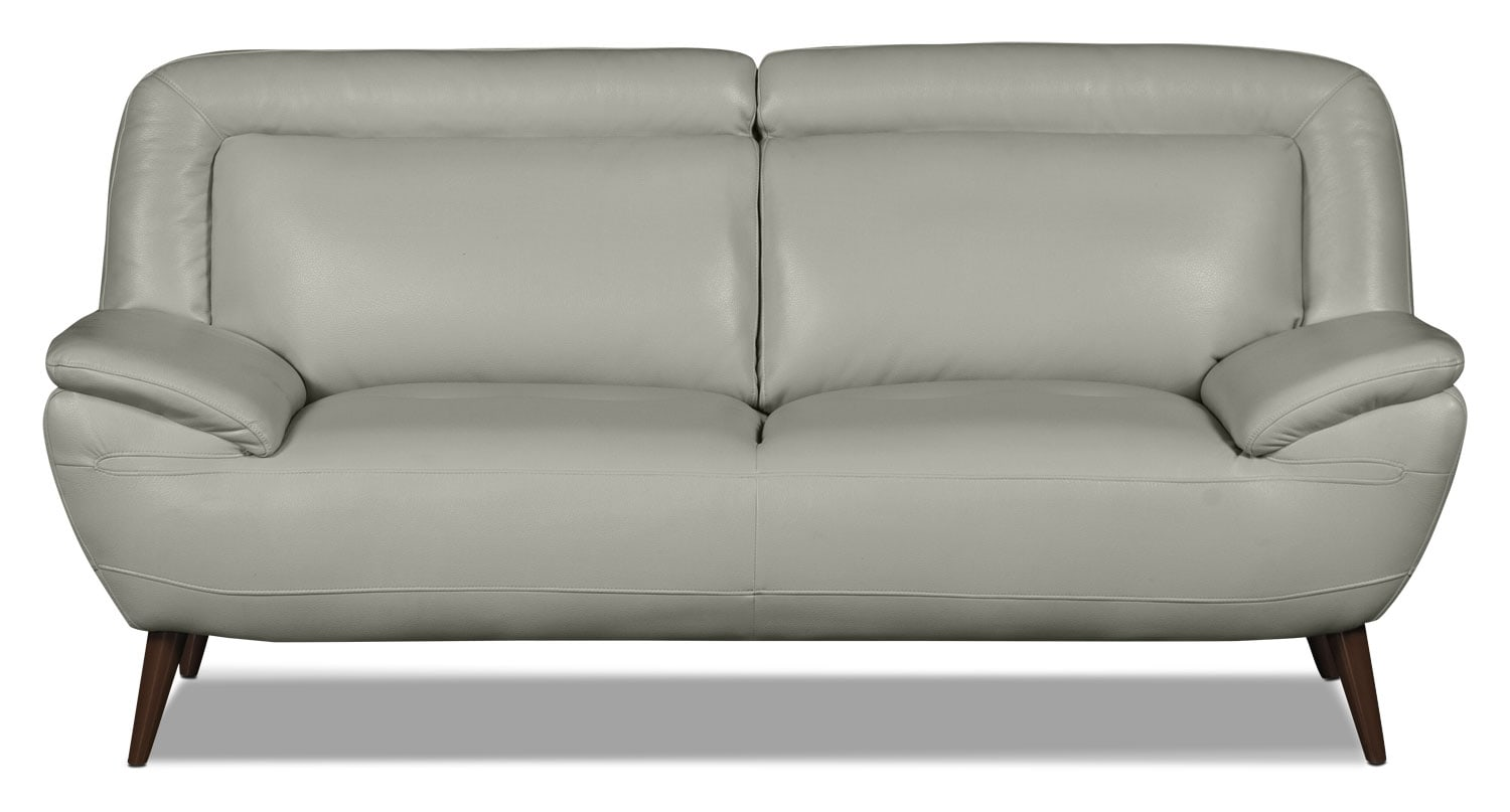 Living Room Furniture - Roxy Leather-Look Fabric Studio-Size Loveseat - Beige