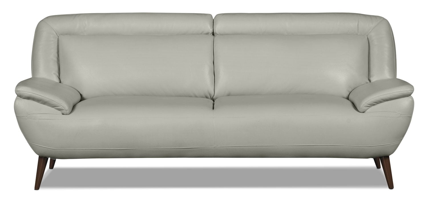 Living Room Furniture - Roxy Leather-Look Fabric Studio-Size Sofa - Beige
