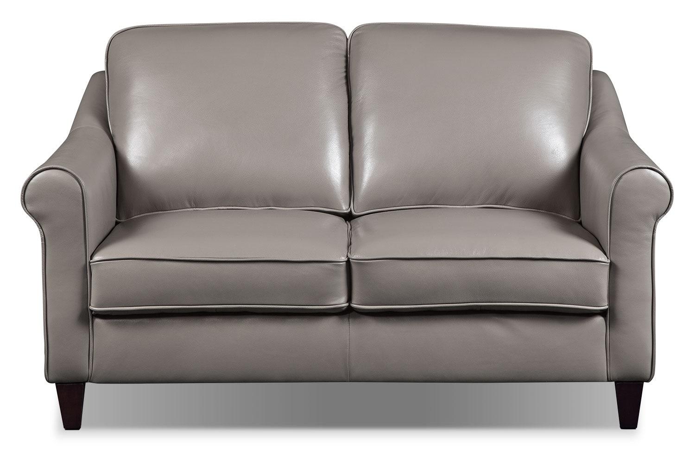 Lexa Genuine Leather Loveseat – Taupe