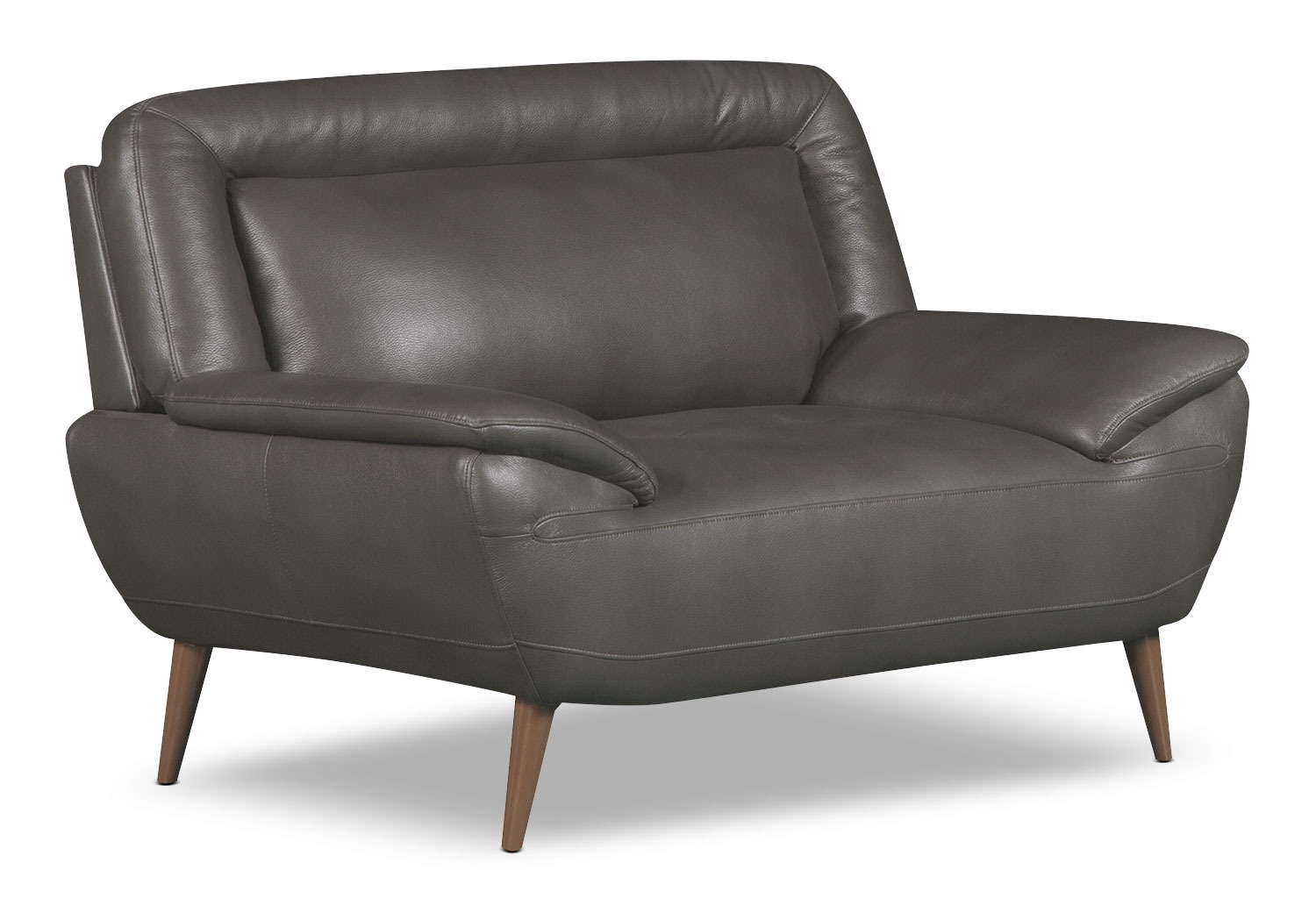roxy leather look fabric chair and a half grey the brick. Black Bedroom Furniture Sets. Home Design Ideas