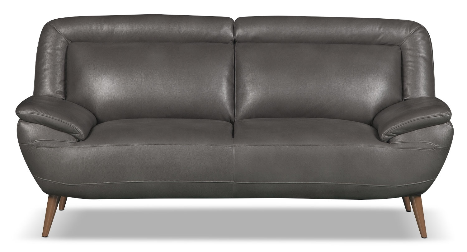 Roxy Leather-Look Fabric Loveseat - Grey