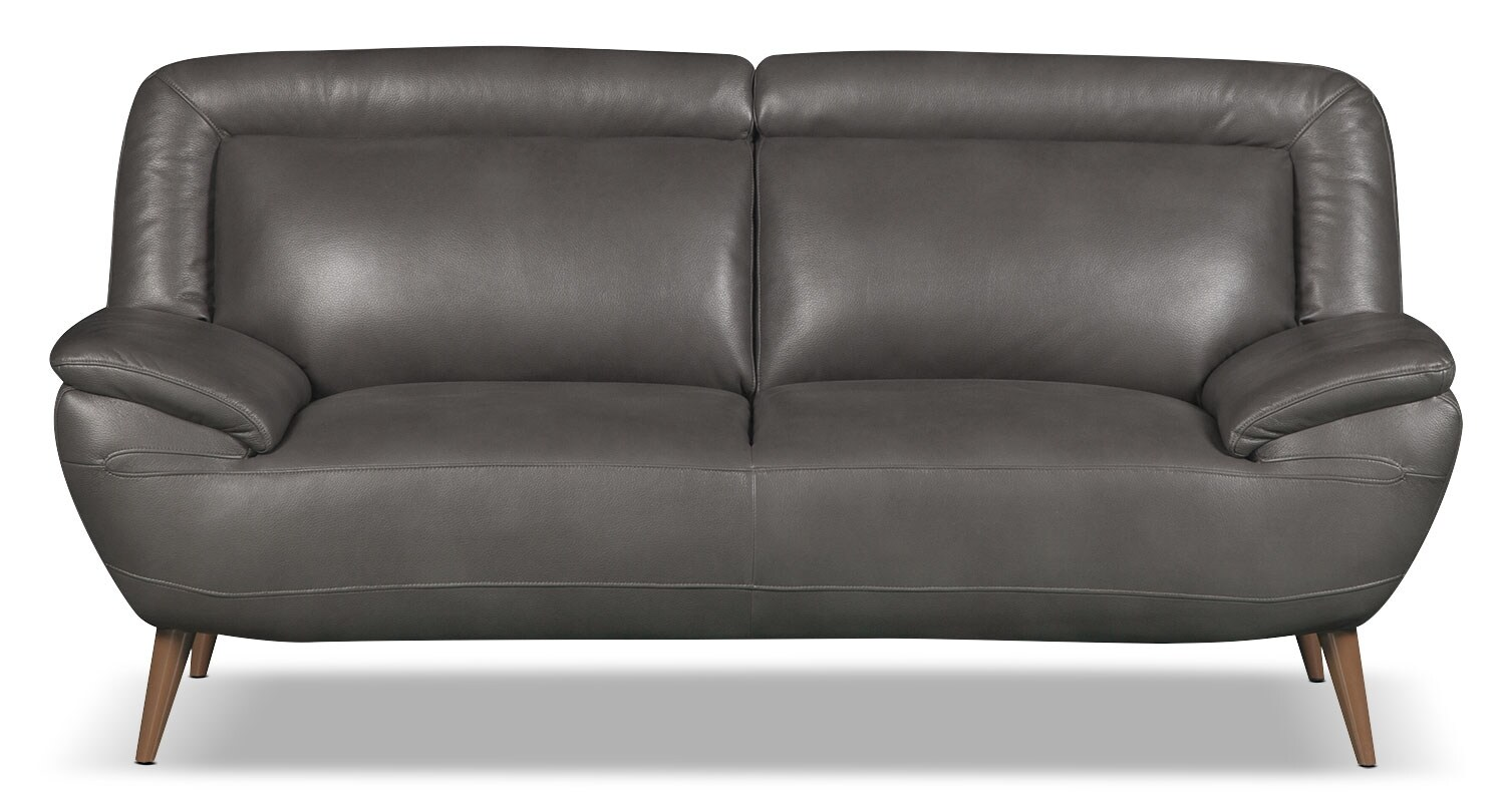 Living Room Furniture - Roxy Leather-Look Fabric Loveseat - Grey