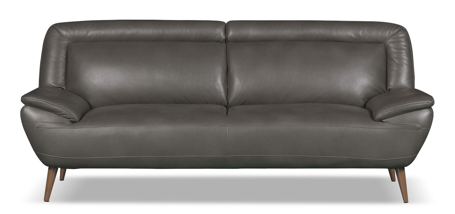 Living Room Furniture - Roxy Leather-Look Fabric Studio-Size Sofa - Grey