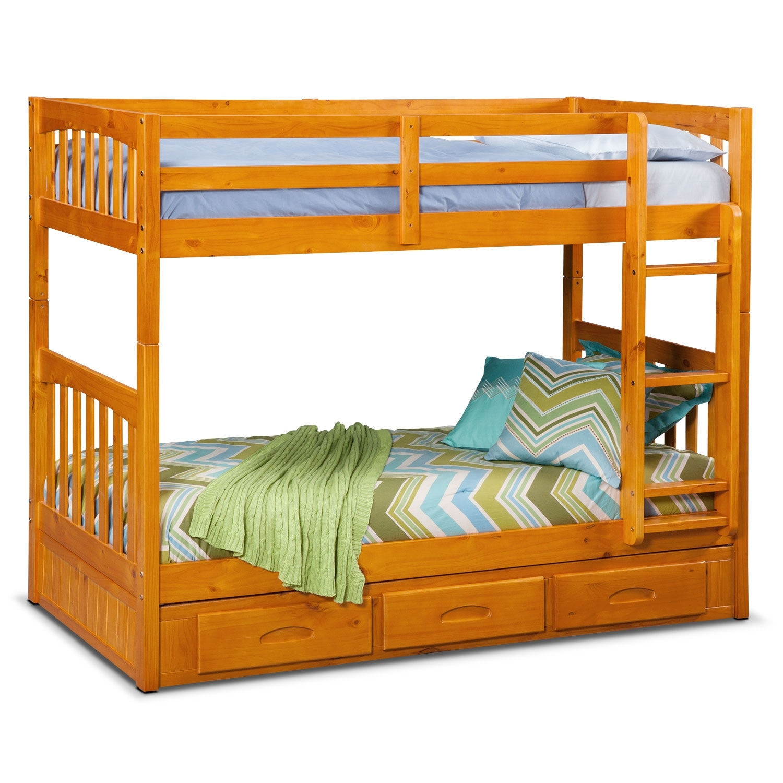 [Ranger Pine Twin/Twin Bunk Bed w/ Storage]