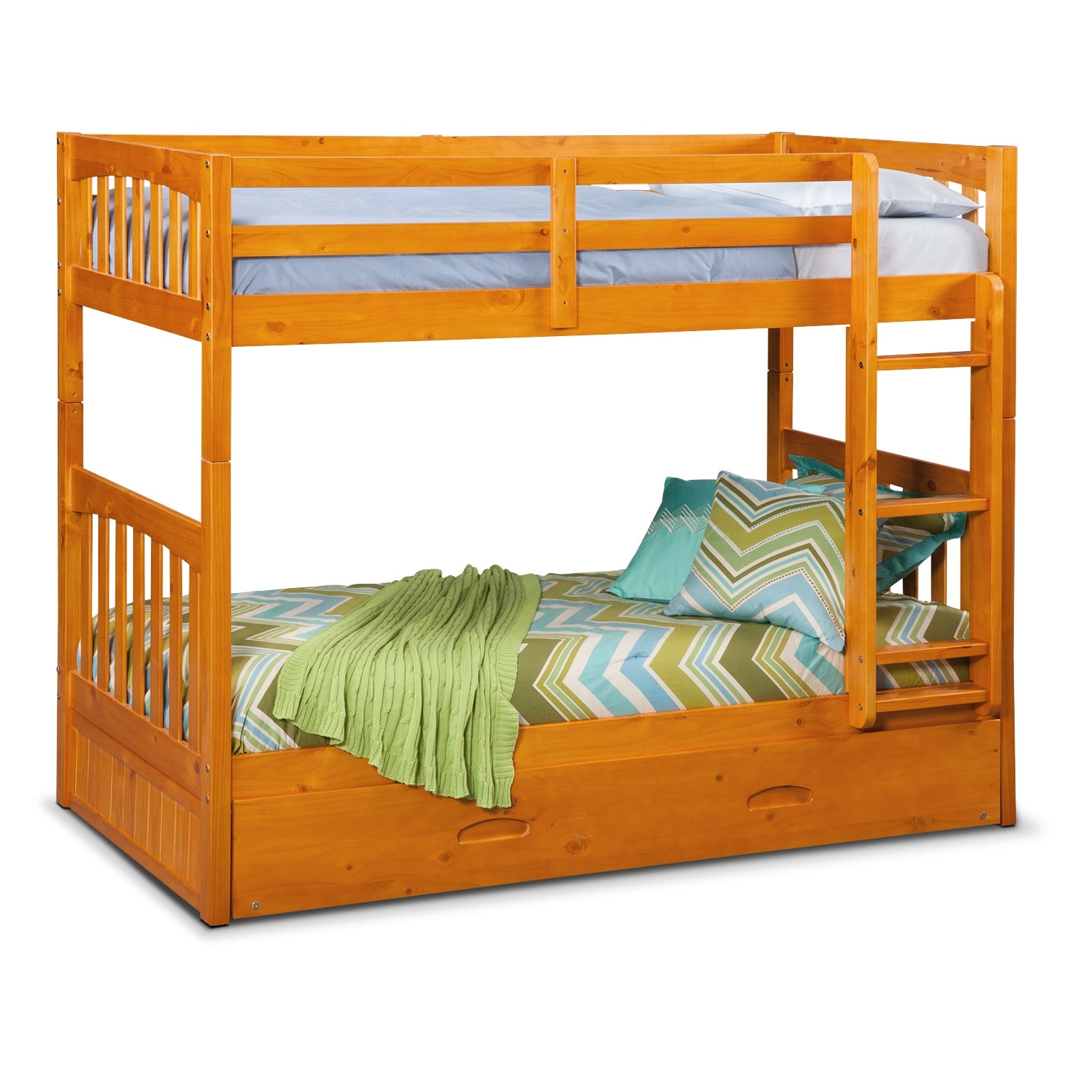 Ranger twin over twin bunk bed with trundle pine for Beds with trundle
