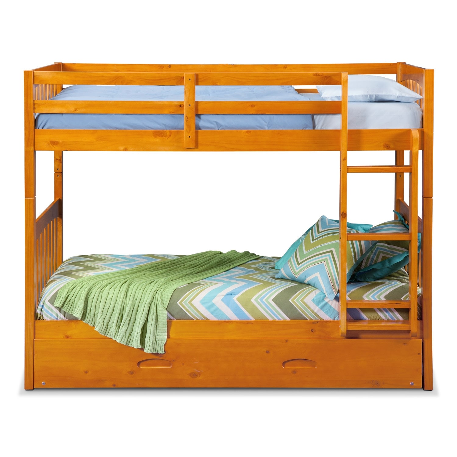 ranger twin over twin bunk bed with trundle pine value. Black Bedroom Furniture Sets. Home Design Ideas