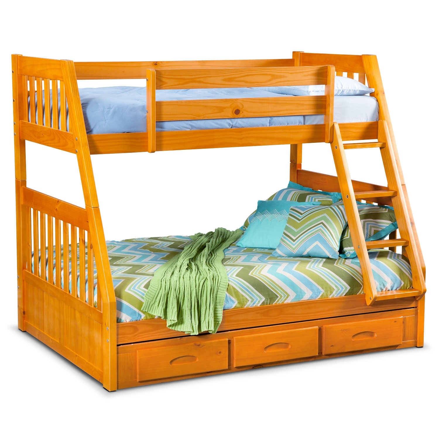 ranger twin over full storage bunk bed pine value city furniture. Black Bedroom Furniture Sets. Home Design Ideas
